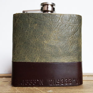Personalised Coordinates Leather Hip Flask