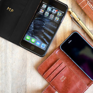 Luxury Personalised iPhone Case In Black Or Brown - 3rd anniversary: leather