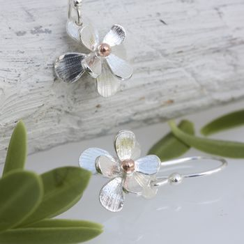 Silver And Rose Gold Daisy Flower Earrings