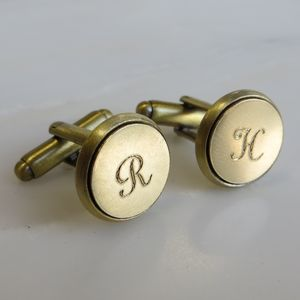 Engraved Brass Initial Cufflinks