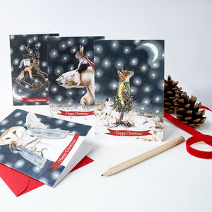 'Happy Christmas' Illustrated Animal Christmas Cards - christmas card packs