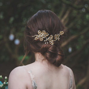 Morgan Gold Pearl Bridal Hair Vine - bridal hairpieces