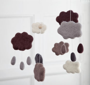 Midnight Plum Felted Cloud Mobile