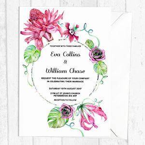 Personalised Tropical Botanical Wedding Invitations - invitations