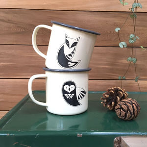 Nordic Fox And Owl Enamel Mug