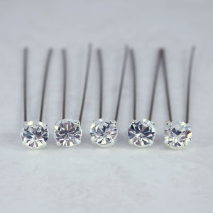 Set Of Five Simplicity Diamante Hair Pins - wedding jewellery
