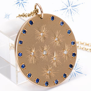Large 9ct Gold Diamond And Sapphire Celestial Pendant