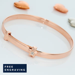 Gracie Rose Gold Diamond Christening Bangle - new in baby & child