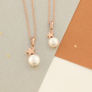 Mama Et Moi White Pearl Pendants With Star - necklaces & pendants