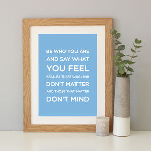 Dr Seuss 'Be Who You Are' Quote Print - literature