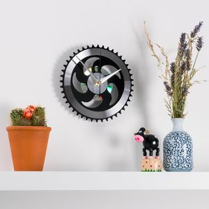 Black And Silver Chainring Bike Clock - clocks