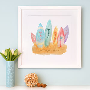 Personalised Surfboard Family Watercolour Art