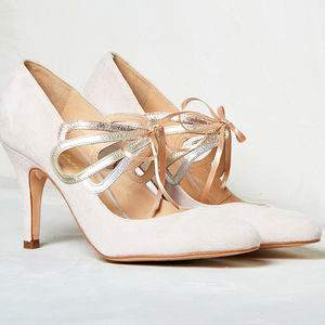 Octavia Blush Ivory Suede - bridal shoes