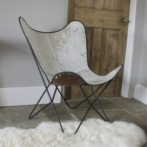 White Cowhide Butterfly Chair - office & study