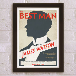 The Best Man Personalised Wedding Thank You Print - be my bridesmaid?
