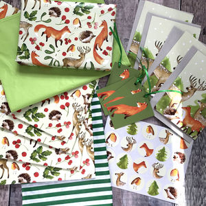 Woodland Bumper Christmas Wrapping Paper Kit - christmas wrapping paper