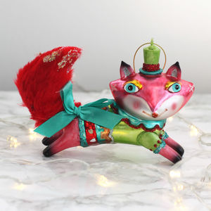 Colourful Kitsch Fox Christmas Decoration - new lines added