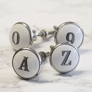 Ceramic Alphabet Letters And Numbers Knob - home decorating