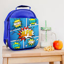 Personalised Blue Insulated Comic Lunch Bag