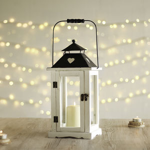 White French Country Heart Wooden Lantern - home accessories