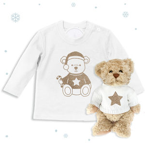 Bertie Bear's Christmas T Shirt And Teddy Gift Set - soft toys & dolls