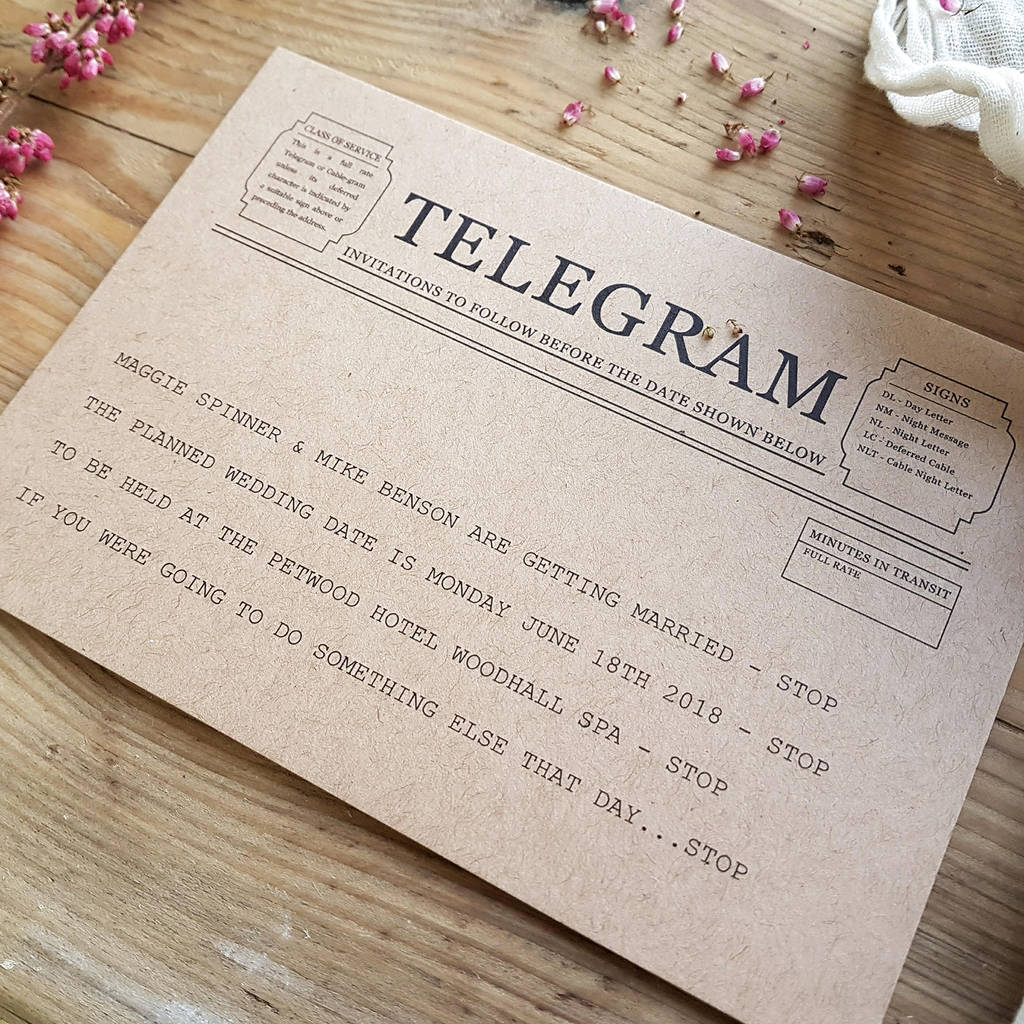 Telegram style save the date card by julia eastwood telegram style save the date card spiritdancerdesigns Choice Image