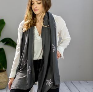 Monogrammed Charcoal Scarf With Silvered Stars