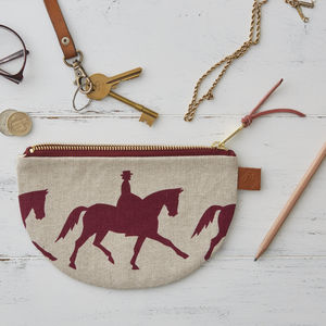 Dressage Linen Half Moon Zipped Purse - bags & purses