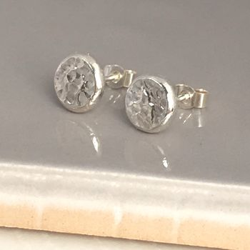 Handmade Silver Stud Pebble Earrings