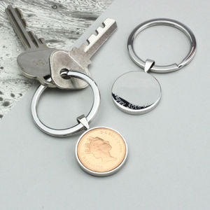 Personalised 30th Birthday One Pence Keyring