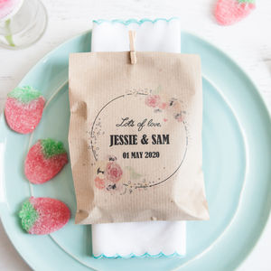 10 Floral Personalised Paper Goodie Bags - wedding favours