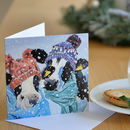Cows In Woolly Hats Christmas Card