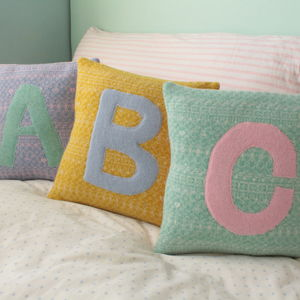 Personalised Nursery Kids Knitted Cushion