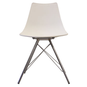 White Oslo Chair With Chrome Legs