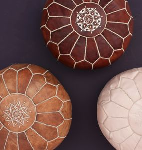 Moroccan Leather Pouffe - footstools & pouffes