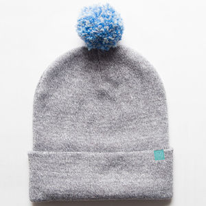 Grey Pompom Hat - men's accessories