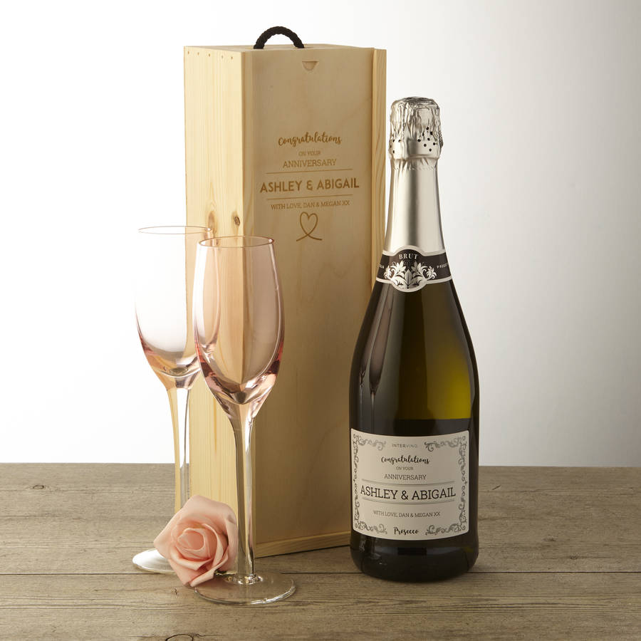 Personalised Anniversary Prosecco And Wooden Gift Box