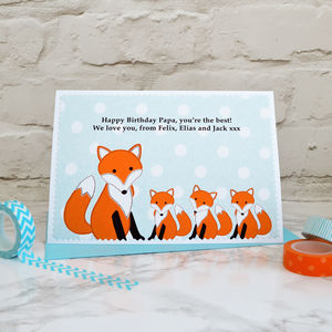 'Fox' Personalised Birthday Card From Three Children - birthday cards