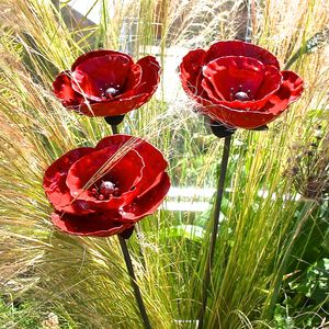 Set Of Three Garden Poppy Sculptures - sculptures & ornaments