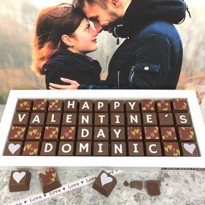 Valentine's Day Box Of Personalised Chocolates - flowers & chocolates with a twist
