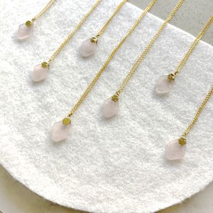 Rose Quartz Gold Pendant Necklace - semi precious stones