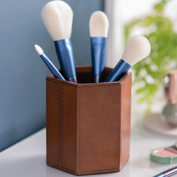 Hexagonal Leather Make Up Brush Pot Tan