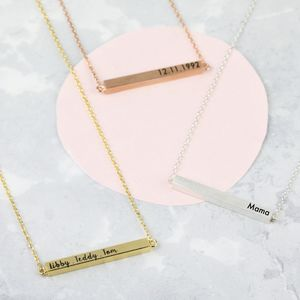 Personalised Horizontal Bar Necklace - for her