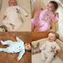 Personalised Baby Bunny Sleep Suits Playsuits Baby Grow