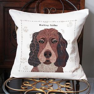 Working Cocker Personalised Dog Cushion Cover - cushions