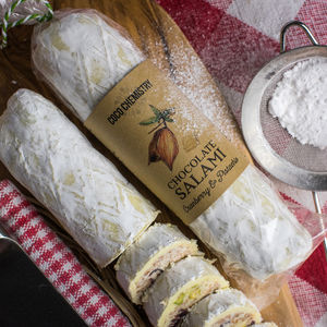 Pistachio And Cranberry White Chocolate Salami