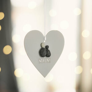 Personalised Pebble Mum Hanging Christmas Heart