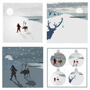 Set Of Four Individual Beach Inspired Christmas Cards