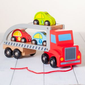 Personalised Red Wooden Pull Along Car Transporter Toy - traditional toys & games