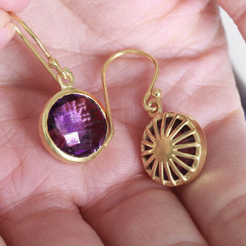 18ct Gold Vermeil Amethyst Filigree Earrings